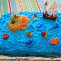 Desert Island Cake My first cake where I sculpted something out of fondant (the pirate ship).