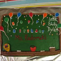 Teacher Chalkboard Cake Inspired by others I've seen here :) Birthday cake for my daughter's Grade 4 teacher :)