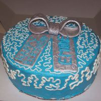 1St Cake Outside Of Class 8in blue buttercream w/ silver fondant bow - tfl!