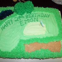 Golf Course Birthday Cake Got inspiration from all of the golf cakes on here thanks you guys!! Buttercream course, ice cream cone trees, piping gel pond, fondant...