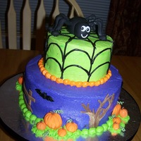 "Not So Spooky 9"" & 6"" iced in bc fondant accents"