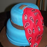 Denim & Bandana covered in fondant, gumpaste bandana