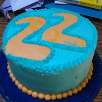 Orange And Teal Fondant Bead Birthday Cake This was for my brothers 22nd birthday. I wanted to use bright orange because thats his favorite color, so its a little funky in a neat way...