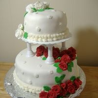 Red And White Rose Finale Wedding Cake Here is my final cake for Course 3 classes from Wilton. This was so much work and so much fun! Things didnt go as perfect as I may have...