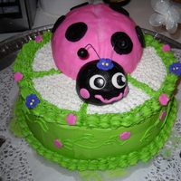 Ladybug Birthday Cake This is a RKT Ladybug covered with fondant and a few fondant flower accents. The rest is buttercream. TFL:)
