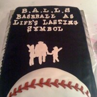 B.a.l.l.s  This cake was done for a book launch in NYC. If you look up the book, you'll find it copies the cover. The baseball was done as an...