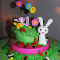 Easter Cake well this was my first cake, made it for my sisters surprise b-day I made the fondant myself. had some problems when putting the fondant on...
