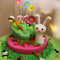 Easter Bunny Cake this was my first cake. made it for my sisters surprise bday. I didn't have much time do it . I made the fondant and buttercream...