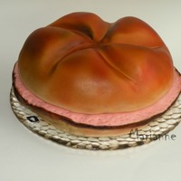 Leberk?s-Semmel roll diameter 28 cm, Chocolate cake covered with fondant, airbrushed