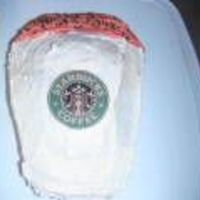 Starbucks Cake The Starbucks label is from a cup cozy that I lined with parchment paper to protect it. The cake is pumpkin with cream cheese frosting in...