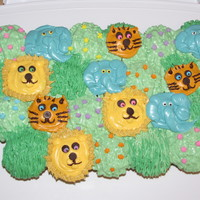 Lions & Tigers And Elephants Oh My! Cupcake cake for 6th Birthday to share with classmates. :)