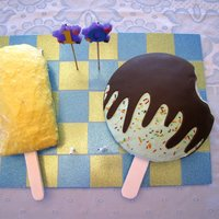 We All Scream For Ice Cream Pina Colada Popsicle Cake for the adults and a Mint Chocolate Ice Cream Bar for the kids at our Family party for my 10 year old DD.