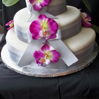 Wedding Cake   Ivory Fondant, Silver Ribbon
