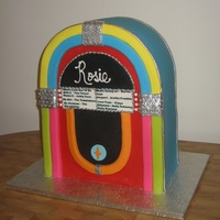 "Jukebox 2 Cakes stacked on top of each other. Bottom 4"" are styrofoam for additional height. Used RKT for top to get round look. Added some of..."