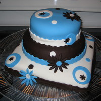 Birthday   Aqua, brown and white fondant. Vanilla rum cake and chocolate cake