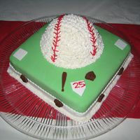 Baseball Birthday   The baseball is buttercream vanilla cake. The base is 1/2 chocolate cake 1/2 vanilla cake. It is covered in fondant.