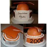 1St Grad Cake White Almond sour cream cake w/pineapple filling and whipped cream buttercream. MMF top, diploma, and numbers. It was hard getting the MMF...