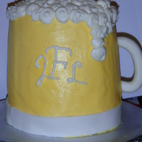 "Beer Mug Chocolate cake with buttercream. The cake was leaning slightly so I tried to get the best angle for the ""front"". Other than that..."
