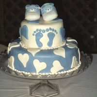 Baby Boy Foot Prints Fondant I did this cake for a church friend I grew up with. I saw many examples online. It was my fourth fondant cake. I used just a simple box...