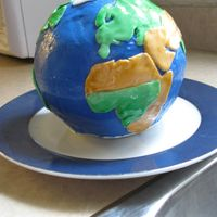 Globe Birthday Cake   This was a practice run for a globe I'm doing in about a month. Buttercream with fondant continents. TFL