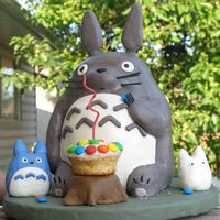 Totoro Birthday Cake  I made this cake for my daughter's 2nd birthday party. Totoro is her favorite cartoon character. The entire cake is edible. Carved...