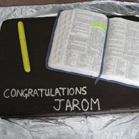 Scripture  I made this cake for a little boy's baptism. The Bible is a life-size replica made of rice krispie and fondant. Fondant covered cookie...
