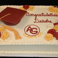 High School Graduation Chocolate cake with lemon buttercream and fondant graduation cap.