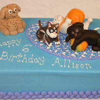 Puppy And Kitten Cake Allison wanted puppies and kittens for her cake, and her favorite colors are light blue and purple. I piped a braided rug for the top of...