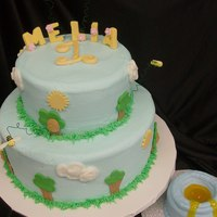 Melia's One! BC with MMF accents. The bees are on wires and the honey is piping gel. This was for a 1 year old with the smash cake as a honey pot....