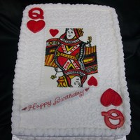 Queen Of Hearts 1/4 sheet BC with hand painted fondant queen and fondant accents.