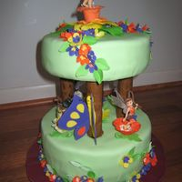 Tinkerbell And Friends I made this cake for my friend's daughter's 3rd B-day. She was very happy.. That was my first time, that I used fondant to...