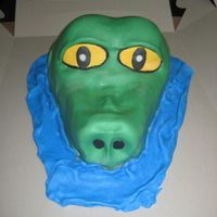 Alligator Cake Carved the alligator head shape, covered and shaped final ridges w/fondant. Blue fondant around base to appear as the head is peeking out...
