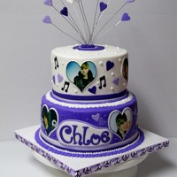 "Justin Bieber Birthday Cake 6 & 8"" rds with BC finish, fondant accents and edible images. TFL!"