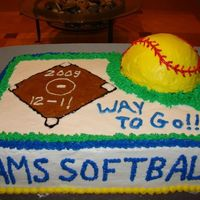 Ams Softball This is the cake I did last night for my daughter's softball team. This is only my 3rd cake, but I had a lot of fun doing it and I...