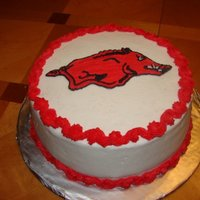 Arkansas Razorback Cake I did a buttercream transfer for this cake. All buttercream.
