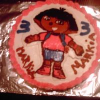 Fbct Dora cake with buttercream icing. Image is buttercream transfer!!
