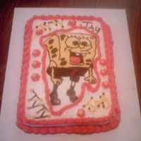 Sponge Bob Cake Sponge bob cake with buttercream icing. Cake is chocolate.