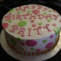 Brittney's Birthday Cake  Made for my cousin's 22nd bday. Americolor Electric Pink with Wilton Rose Petal for the hot pink. Americolor Electric Green....