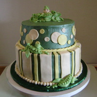 Pea In A Pod   Pea in a pod theme baby shower cake.