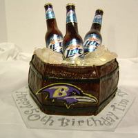 Tim's Beer Bucket Cake  Made for a friend's 50th birthday. He likes two things: Miller Lite and The Baltimore Ravens. First time making Beer bottles/ice....