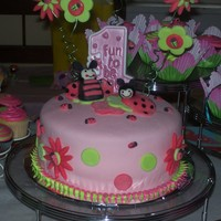Ladybug Cake This was a white cake torted with buttercream and covered in strawberry MMF with MMF accents.