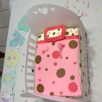 Baby Shower For A Girl Fondant covered cake made to look like a crib. This was my first cake covered in fondant. The fondant is the marshmallow fondant recipe...