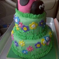 Ladybug Cake WASC Cake with mmf. Ladybug was carved from cake. This is not a good pic. I took it in my car on the way to deliver it. Forgot to take a...