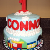 Train Cake WASC with BC and mmf decorations. Thanks for all the inspiration from the many train cakes on CC! tfl