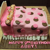 Sleepover Slumber Party Cake WASC cake with buttercream and mmf. Headboard and footboard are mmf with tylose powder. tfl