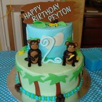 Monkey Birthday Cake My first stacked cake. WASC with cookies and cream filling, fondant accents (coconuts, bananas, palm trees) #2 was made out of gum paste....