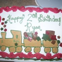 Train For My Nephew   This train cake was for my nephew, It was fun to make and my kids helped out cutting out the fondant shapes!!