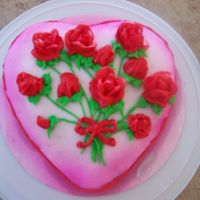 "Valentines Cake  I made this cake for my parents for Valentines day, My dad said it was ""pretty now lets eat it"".....lol! My daughter even helped..."