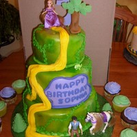 Rapunzel/tangled The client sent me a pic to follow. Pam Coley The bottom and top layers are yellow/butter cakes with strawberry filling and the center tier...