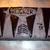 "Kicker Car Amp WASC cake with choc chip cookie dough filling covered in mmf. 12"" square cake cut in half and stacked. I made this cake for my husband..."